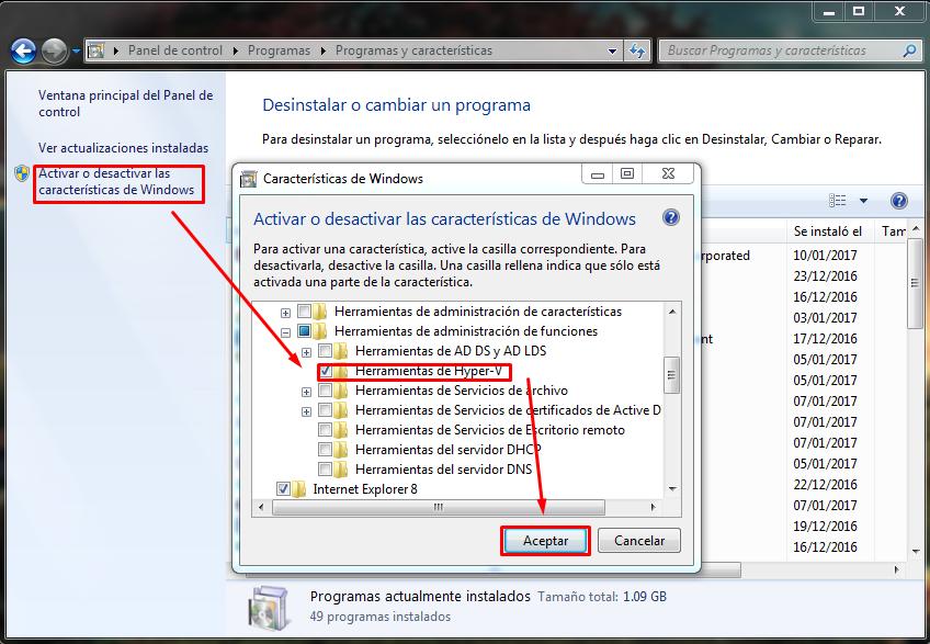 Instalar Hyper V para maquinas virtuales en Windows 7